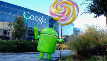Android lollipop на фоне Google Inc.