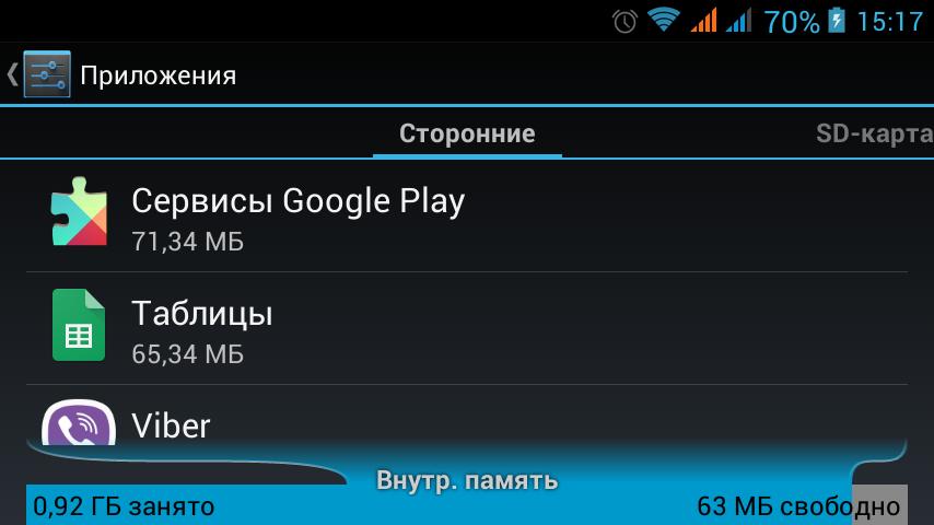 Список приложений телефона Андроид