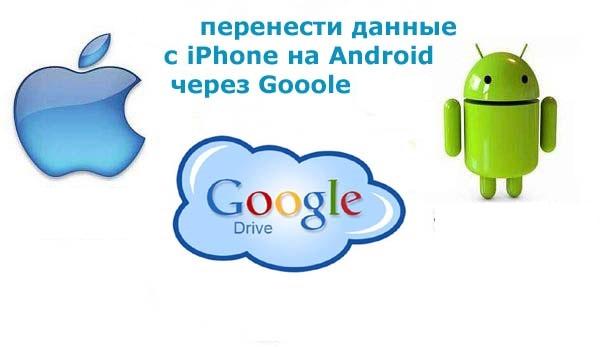 Перенос данных с айфона на андроид с помощью Google